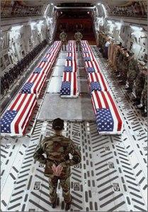 soldiers in caskets