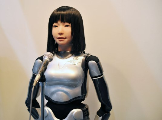 female robot with head and robot body