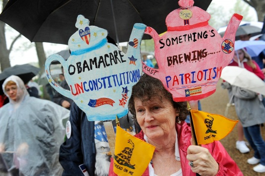 People hold signs at a Tea Party Patriots rally calling for the repeal of the 2010 healthcare law on Capitol Hill in Washington