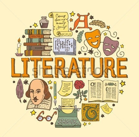 stock-vector-literature-hand-drawn-vector-illustration-with-doodle-icons-images-and-objects-arranged-in-a-circle-477961258
